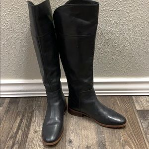 Franco Sarto black tall leather boots studs size 7